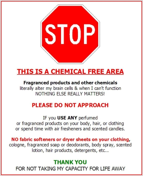 STOP  This is a chemical-free area