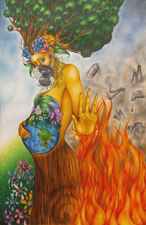 """Painting of pregnant Mother Earth wearing a gas mask and with a tree growing from her head. She is surrounded by toxic products and flames arise from below. Her left hand is outstretched as to stay stop. By Mario Rosales Ramírez """"Ponle un Alto al Calentamiento Global"""""""