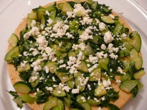 add to 20 minute crust (here with crumbled goat cheese)