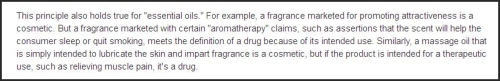 FDA Is It a Cosmetic a Drug or Aromatherapy drug