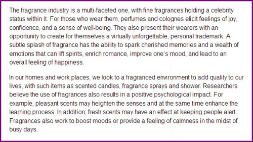 Fragrance Industry Stated Benefits