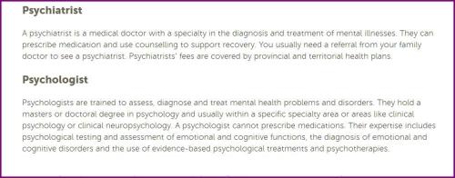 psychologist psychiatrist and prescriptions CMHA