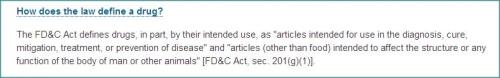 FDA law defines a drug