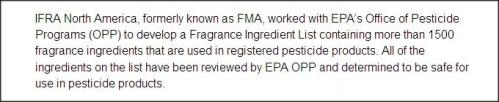fragrance industry ingredients safe for use in pesticides