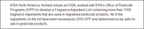 fragrance industry ingredients safe for use in pesticides