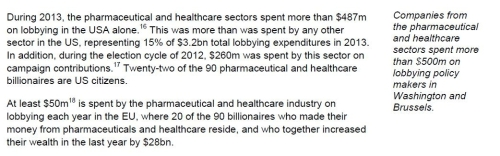 BIG money lobbying by pharmaceutical industry