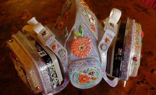 Decorated respirator by Amy Marsh