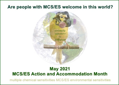 image description: a faded beach ball mother earth... there's a large faded canary bird (representing human canaries) wearing a full face respirator, on the middle of the globe text reads: Are people with MCS/ES welcome in this world? seriously 'sensitive' to pollution May 2021 MCS/ES Action and Accommodation Month multiple chemical sensitivities MCS/ES environmental sensitivities